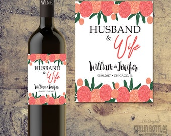 PERSONALIZED WEDDING Table, Wedding SHOWER Wine Bottle Labels- Wedding Tables, Bride and Groom Wedding Wine Bottle Label