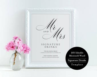 Printable Wedding Signature Cocktail Sign, Wedding Signature Drinks Sign, Instant Download, Editable Text, Template, Digital, MSW78