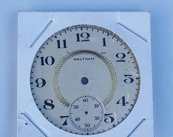 Vintage Pocket Watch Dial , 16S Waltham , Very Good Condition. Beige with gold inlay