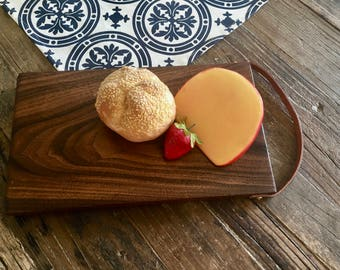 Solid North American Walnut Cutting Board Tapas Tray with Leather Strap