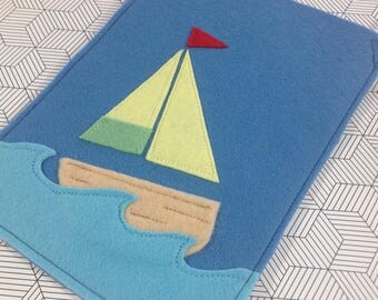 sail boat children's party loot goodie favour felt bag with handle - made to order
