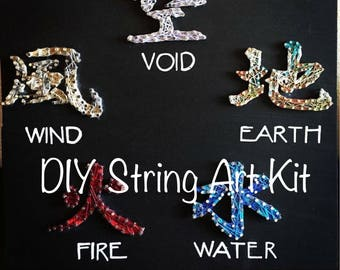 DIY Japanese Kanji String Art Kit, Elemental Attitudes Thread Art How To, Earth Water Fire Wind Void Step by Step Instructions, Explain elem