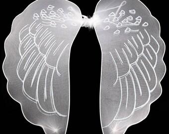 Halloween White Glitter Angel Wings