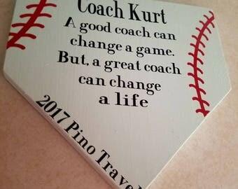 A great coach wooden plaque baseball/softball