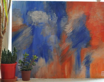 Abstract Art - Kitchen Art - Living Room Art - Canvas - Orange and Blue Painting - Birthday Gift - Original Art - One of a Kind