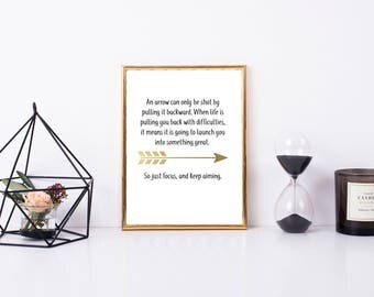 Arrow Inspirational Printable, Keep Aiming Print, 8x10, Gold and Black Print, Digital Home Decor, Motivational Gift, Home Printable Wall Art