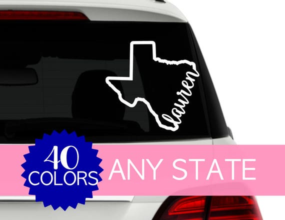 Personalized State Car Decal Texas Decal Custom Car Window - Custom car window decals