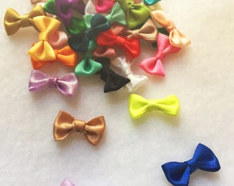 30pc mix colors tiny satin bows sew on bows glue on satin bows headband appliqué bow girls hair accessory A109