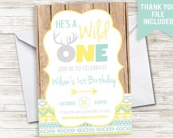 Wild One First Birthday Invite Invitation Digital 5x7 Boys 1st Tribal Aztec Arrows Yellow Gray Blue Indian