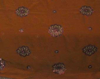 Vintage Craft Women Clothing India Were Saree Antique decor Piece Georgette Fabric Embroidery Saree.