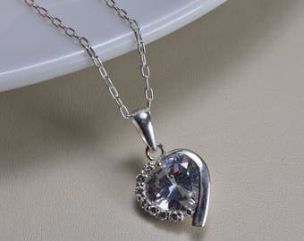 Sterling Silver, Heart Shaped Cubic Zirconia Pendant necklace, everyday wear