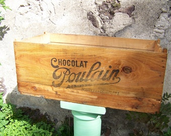 Large wooden French screen Chocolat Poulain taste and compare to 1930.