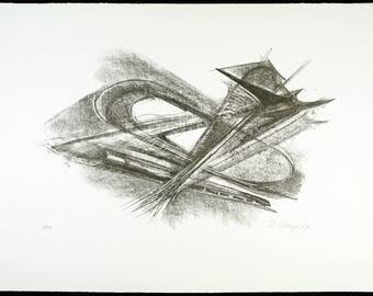 Entwurf für Metallplatten und Draht I, 1967. Lithograph by Rudolf BELLING
