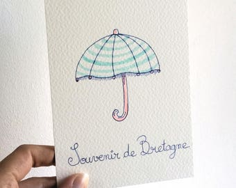 """Postcard """"Umbrella"""" watercolor paint, fashion stationery, souvenir from Brittany"""