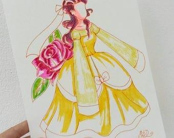 Breton painting, pink, poster watercolor art beauty and beast, fairy tale, and the beast, romantic, Princess art beautiful.