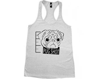 Pug Shot Tee VNeck Racerback