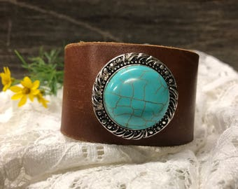 Upcycled Brown Leather and Turquoise Cuff Bracelet, Boho Leather Cuff Bracelet, Western Leather Cuff Bracelet, Womens Leather Cuff, Rustic