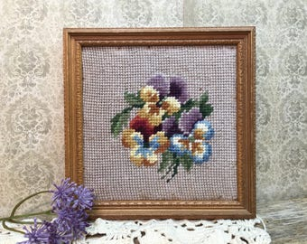 Vintage Handmade Framed Cross Stitch/Pansies/Purple/Small