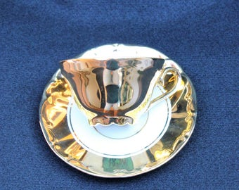 Gold ST Bavaria Germany Demitasse Tea Cup and Saucer by   Metallic Gold 1970's  Tea Cup and Saucer Espresso Cup  Bridal Shower Favor