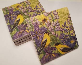 Ceramic coasters-yellow bird purple flowers. Set of 4
