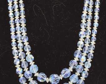 Laguna Blue Lucite / Crystal Bead Necklace
