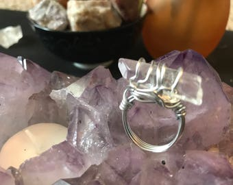Clear Quartz Wire Wrap Ring**CLEANSED AND BLESSED