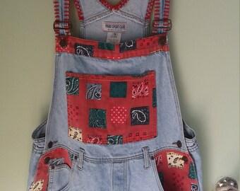 90s vintage blue and red denim short overalls