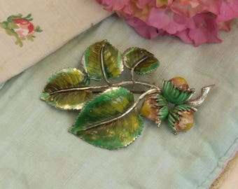 Vintage Exquisite enamel Hazel Nuts brooch