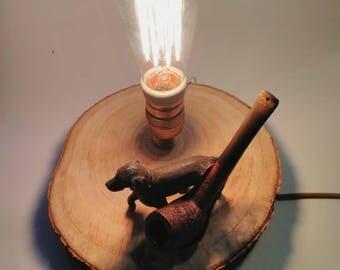 Lamp-wood-recycle-Edison vintage bulb-brass- Table Lamp - Edison Light - Vintage Light