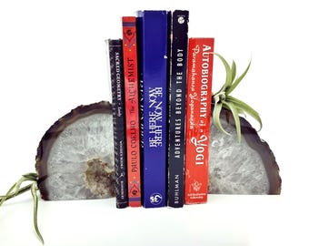 Quartz Crystal Book Ends Matched Pair Quartz Crystal Geodes Crystal Decor Boho Style Bookends Witchy Decorations Healing Crystals and Stones