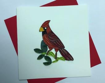 Cardinal Quilling Greeting Card