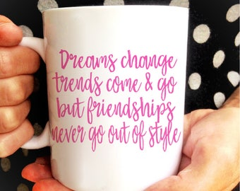 Dreams Change... Sex and the City Quote Mug | Friendship Quotes | Carrie Bradshaw Quote | SATC | Sarah Jessica Parker | Sex in the City