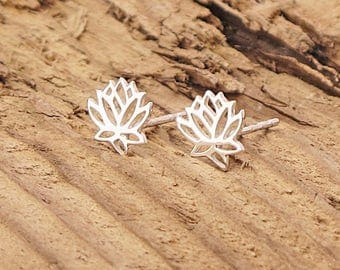 Sterling Silver Lotus Blossom Stud Earrings Yoga Namaste 925 Boxed