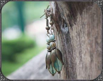 Turquoise-transparent Boho Earrings