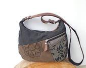 Black Waxed canvas crossbody purse, hobo bag, brown and gray canvas bag, waxed fabric, zipper shoulder bag, smaller hobo bag, cotton day bag