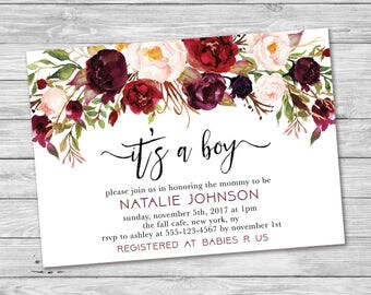 It's A Boy Baby Shower Invitation, Fall Baby Shower Invitation, Falling in Love, Boy Baby Shower Invite, Printable Invitation, Fall In Love