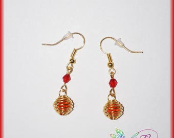 Red cage earrings