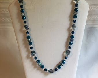 Blue/Smokey Gray/Blue/ Clear Necklace
