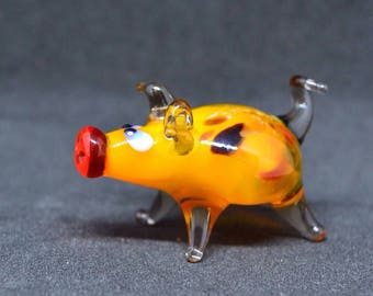 Orange glass pig figurine animals glass pig miniature art glass pigs toy murano piggy animals tiny small figure glass white pigs sculptures