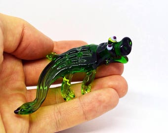 Green Glass crocodile figurine animals glass crocodile sculpture art glass crocodile green murano miniature animals tiny green toys figures