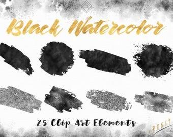 Black Watercolor Clipart - Paint Clipart Brush Strokes - Glitter Clip Art - Brush Stroke Clip Art - Painted Clipart - DIY Watercolor Logo