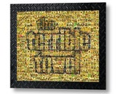 Large Pittsburgh Steelers Terrible Towel Mosaic Art Large Wall Decal made of over 250 Player Cards.  All the Great Past and Present Stars.