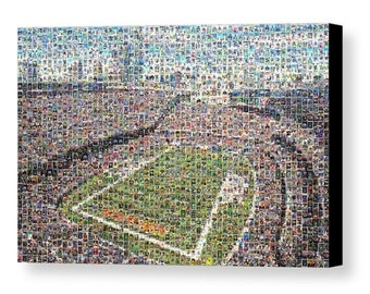 Unique Chicago Bears Mosaic Art Print of Solider Field made of 358 Player Cards. All the Great Past and Present Stars.