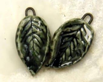 Porcelain leaves earrings from local US seller / beads #841