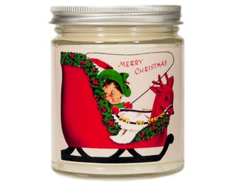 Christmas Candle, Personalized Candle, Holiday Candle, Scented Candle, Vintage Candle, Soy Candle, Christmas Elf, Christmas Decor