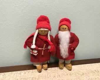Pair of Danish Modern Wooden Christmas Figurines