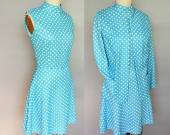 schoolteacher / 1970s blue polka dot dress with matching jacket / 6 8 small