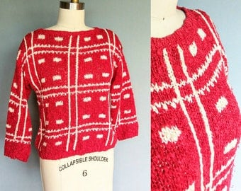 hand loomed / 1980s red sweater pullover / medium