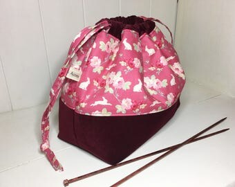 Floral Bunny/Claret Velvet drawstring project bag, medium-large project bag, knitting and crochet storage, project bag,