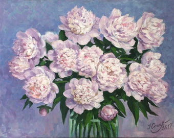 Peonies wall decor Birthday gift Peony oil painting on canvas Romantic bouquet For women mother sister wife Floral artwork Pink & purple art